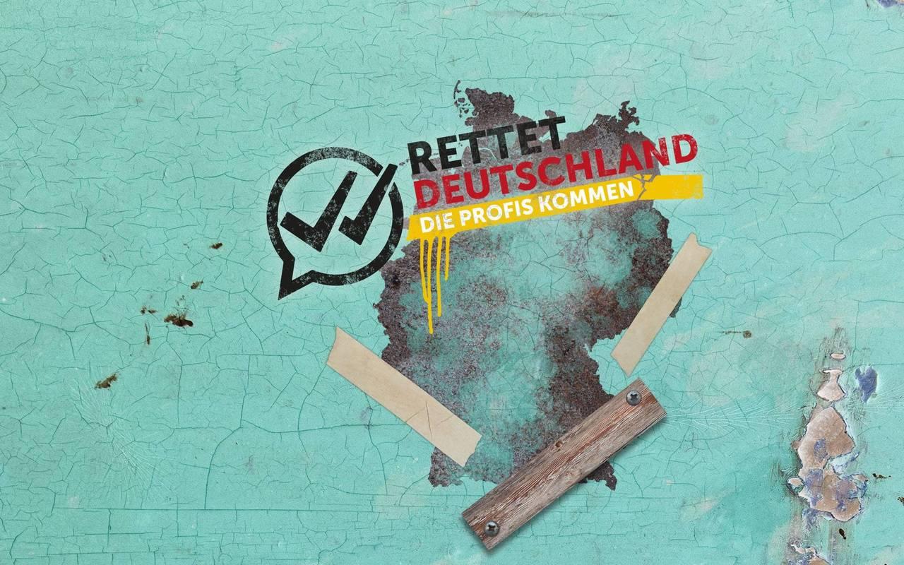 Deutschlandkarte in Schwarz Rot Gold, darüberliegend befinden sich Bretter